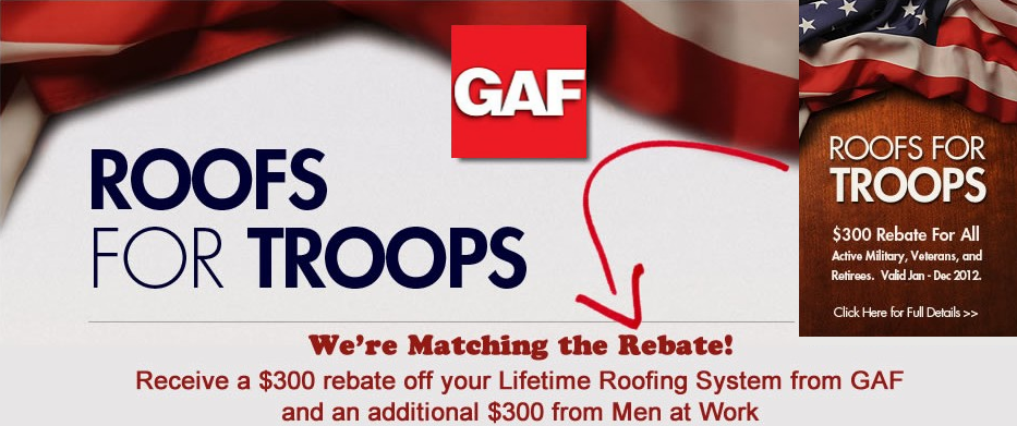 Roofing Experts, Inc. Roofs For Troops Offer!
